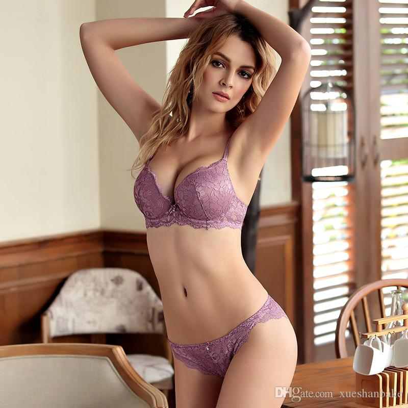 7158d31005 2019 MOXIAN Lace Bra Set Lady Underwear Sexy Purple Seduce Man Beautiful  Oneself Women Wear More Confident And Upright 32 38 Size A B C Cup 2030  From ...