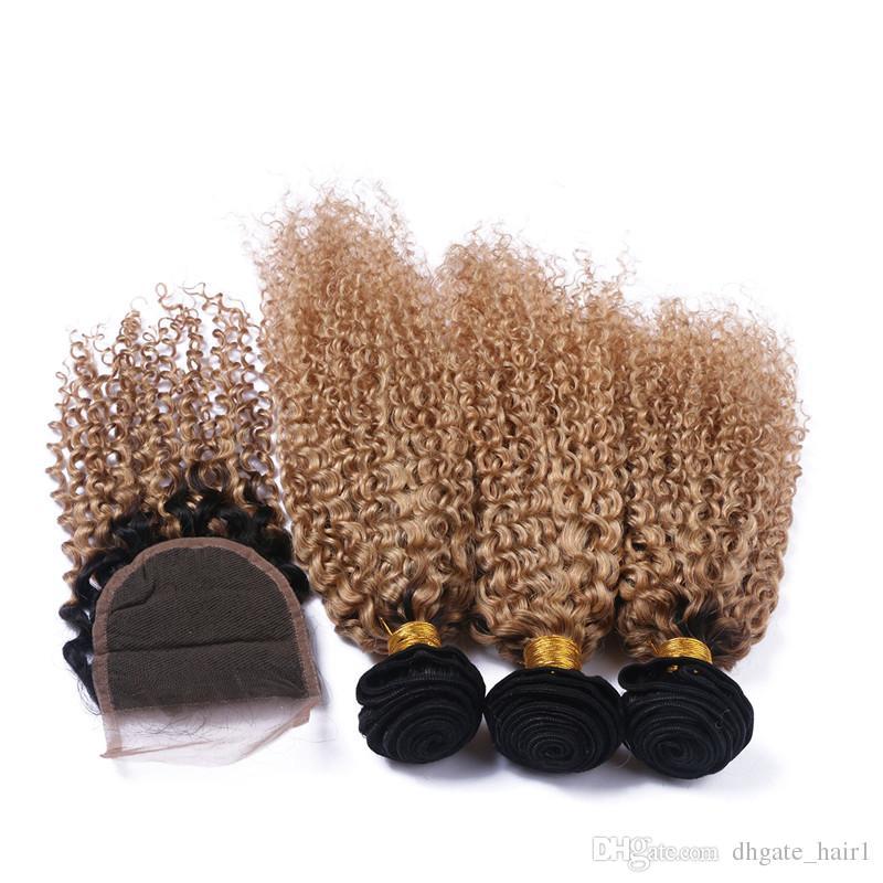 Cierre de encaje rizado marrón claro Ombre 4x4 con 3 paquetes de dos tonos 1B / 27 cabello humano peruano rubio de miel teje con cierre