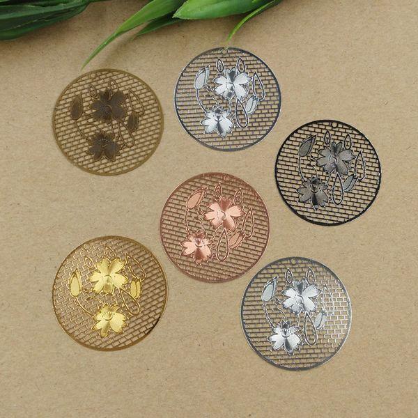 08018 36mm bricolage à la main antique nénuphar lotus charmes bijoux en argent, pendentif de charme de couleur or pour bracelet, perle de charme femme fille mode