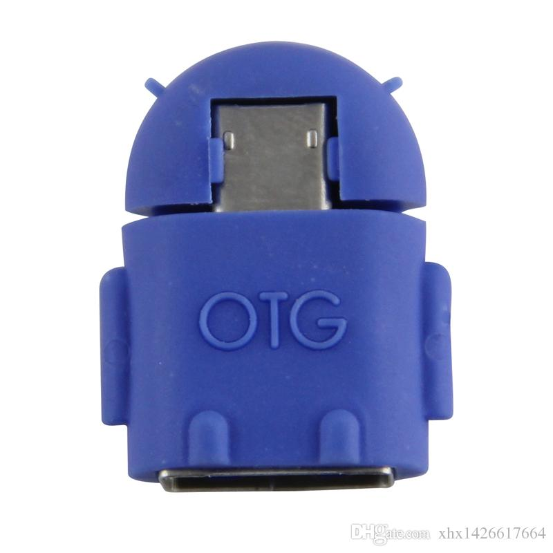 Android Robot Shape Micro USB OTG Adapter Converter for Tablet Computer U-Disk Keyboard Samsung HTC LG Smartphone