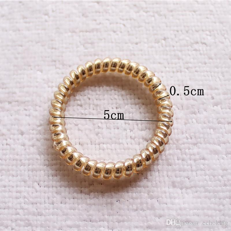 New Fashion Women Lady Girls Gold/Silver Elastic Telephone Wire Hair Bands Ropes Ponytail Holders Elastic Hair Bands Hair Accessories