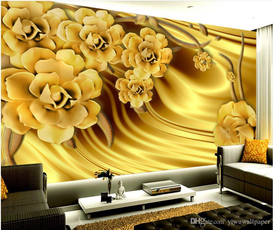 Luxury Gold Peony Silk Pattern Background Wall Mural 3d