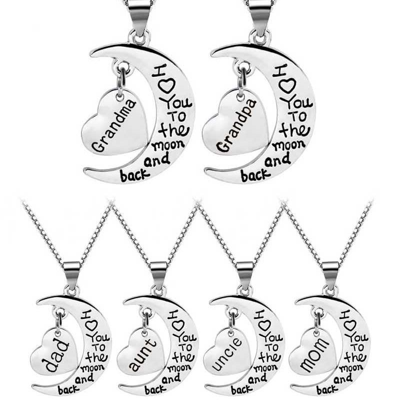 I Love You To The Moon And Back Necklace Heart Mom Dad Grandma