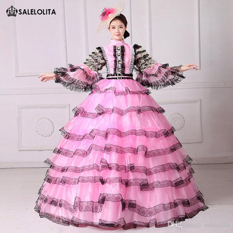ca79249e2c7c 2017 Pink And Black Lace Vampire Masquerade Ball Dress Civil War Southern  Belle Ball Gown Marie Antoinette 18th Century Costume Group Halloween  Costumes ...