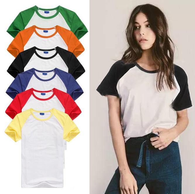 dd6052e9b92 Wholesale T Shirt Women Tops Summer Causal Ringer Tee Women Cotton Short  Sleeve Basic Solid T Shirt Color Patchwork One Day T Shirts Coolest T Shirt  From ...