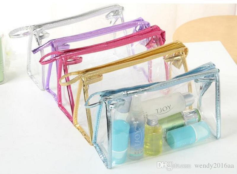 6 farben 24 * 7,5 * 15 cm Klar Wasserdichte Kosmetiktaschen Frauen Täglichen Transparenten Reise Make-Up Fall Kulturbeutel