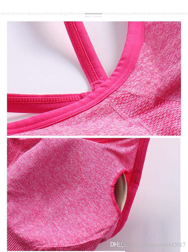 Mujer Verano Crop Top Multi Color Sujetador deportivo sin costuras Cojines extraíbles Correa de espagueti Camisola Sun-top Bodycon Clubwear Camisetas de tirantes