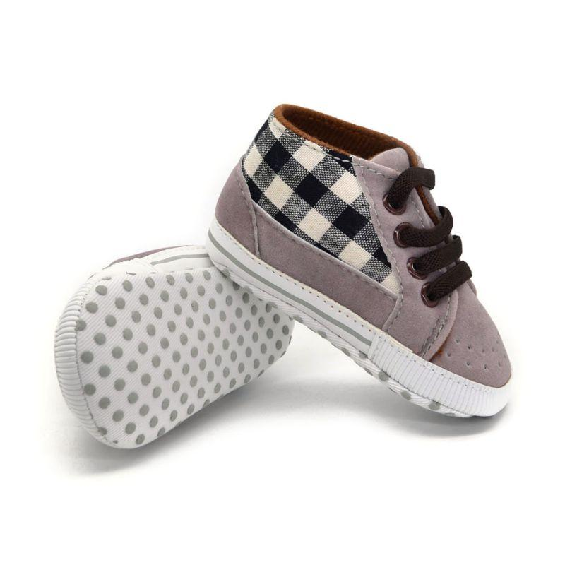 b1562faef91b 2019 Toddler Infant Baby Boy Shoes Laces Casual Sneaker PU Plaid Soft Sole  Crib Shoes From Humom