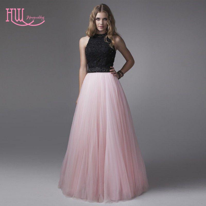 af7c9b2a2 Compre Chicing Light Pink Vestidos De Baile Barato Negro Top Joya Cuello  Fruncido Falda De Tul Señoras Largas Vestidos De Noche Formales Custom Sexy  2017 A ...