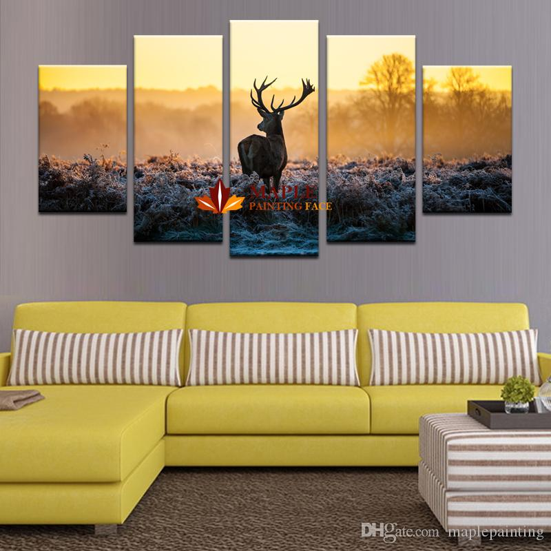 2018 5 Panels Abstract Deer Modern Home Wall Decor Animal Painting ...