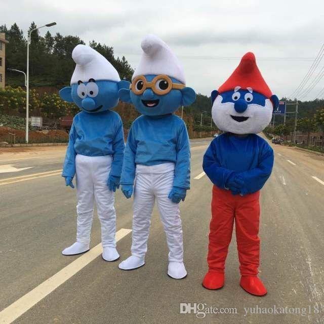 2016 Hot Selling Lovely Blue Smurfs Papa Smurf Mascot Costume Halloween  Party Fancy Dress Cartoon Costume Factory Children Adult Size Plus Size  Mascot ... 232d2de32c