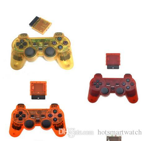HOT Wireless USB PS2 Game Controller Clear Rich Color Joystick Gamepad with PS2 PS3 USB plug For PC Computer tv box game cool