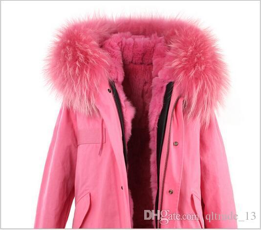 Luxuoso pele rosa guarnição de pele de coelho forrado Jazzevar marca rosa lona casacos longos mulheres casacos com ykk zipper parka de neve de boa qualidade