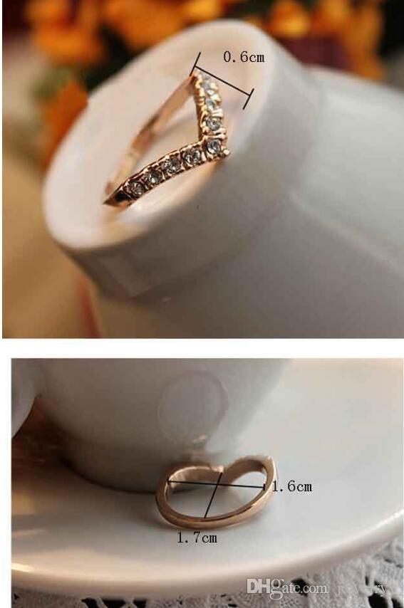 Yeni Moda Kore Takı Trendi Kadınlar Kristal yüzük benzersiz altın gümüş kaplama Kuyruk Yüzükler Rehinestone Yüzük