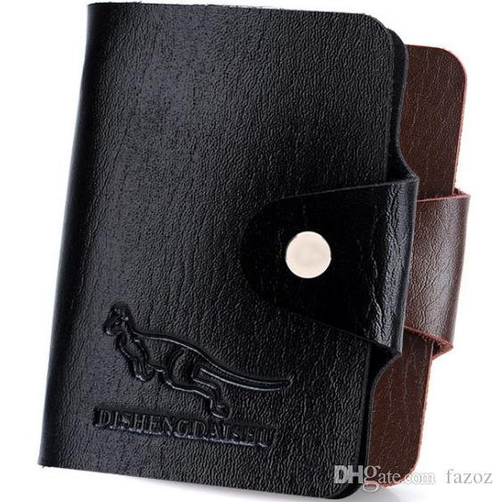 Fashion black leather credit card holder wallet bag business card fashion black leather credit card holder wallet bag business card slots organizer case pocket box for display business id retro men pouch french wallet reheart Choice Image