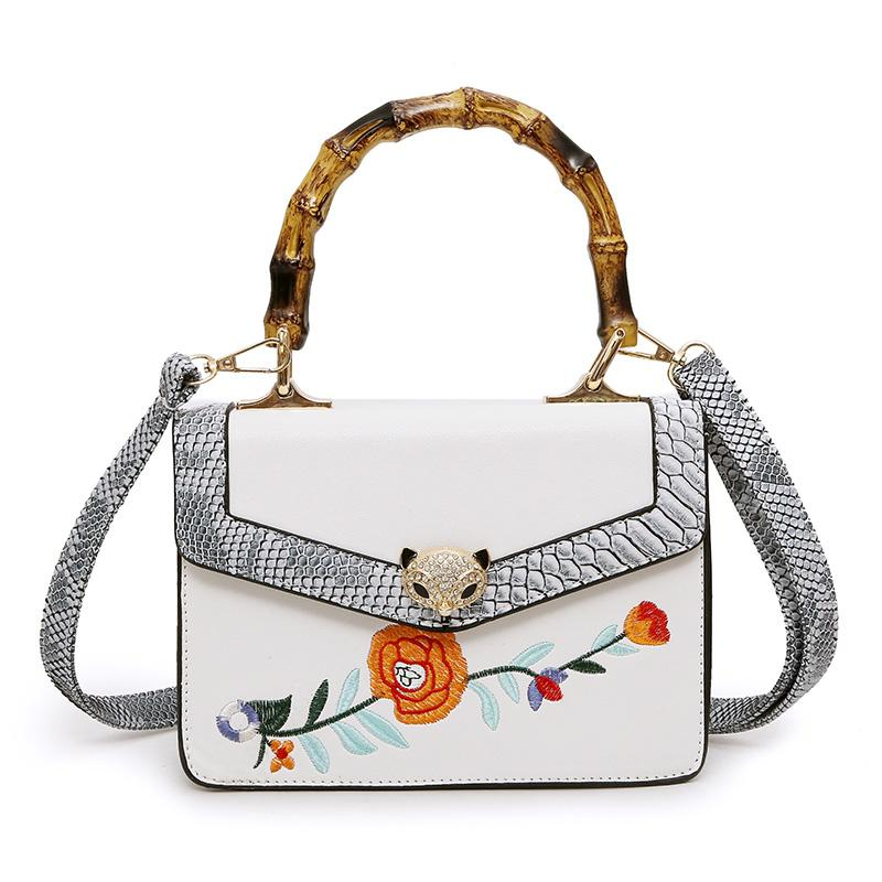 Bamboo Handle Embroidery Crossbody Bag Women 2017 Serpentine Shoulder  Straps Two Tone Handbag Tide Female Vintage Floral Shoulder Bag Purses  Designer ... 63379fe849d06