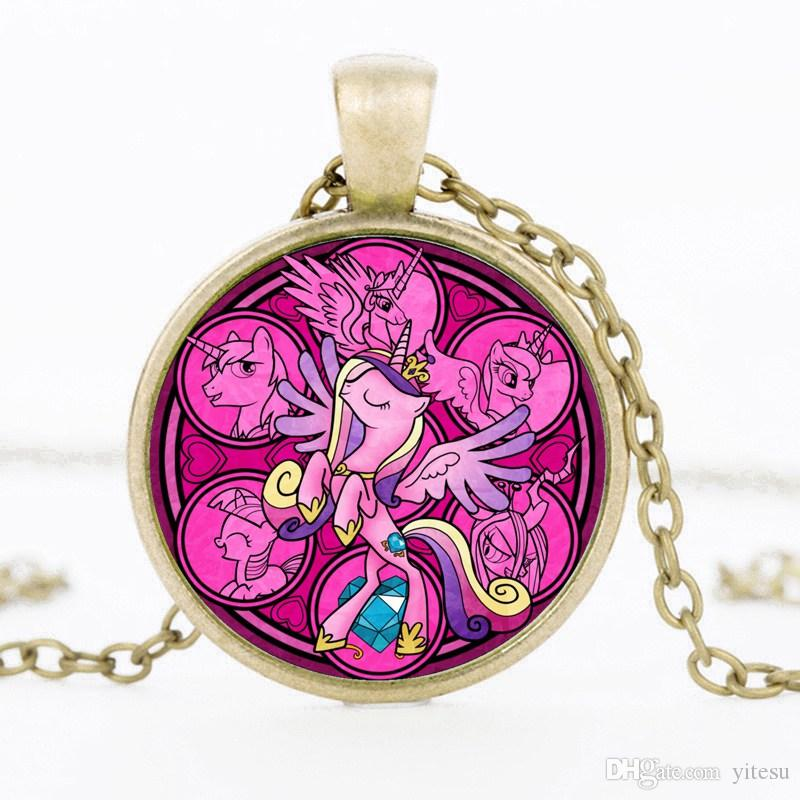 2017 US Cartoon Pony Time Gem DIY Child Necklace Jewlry Characters Expressions Rainbow Pony Pendant Sign Necklaces Fashion Best Gift For Kid