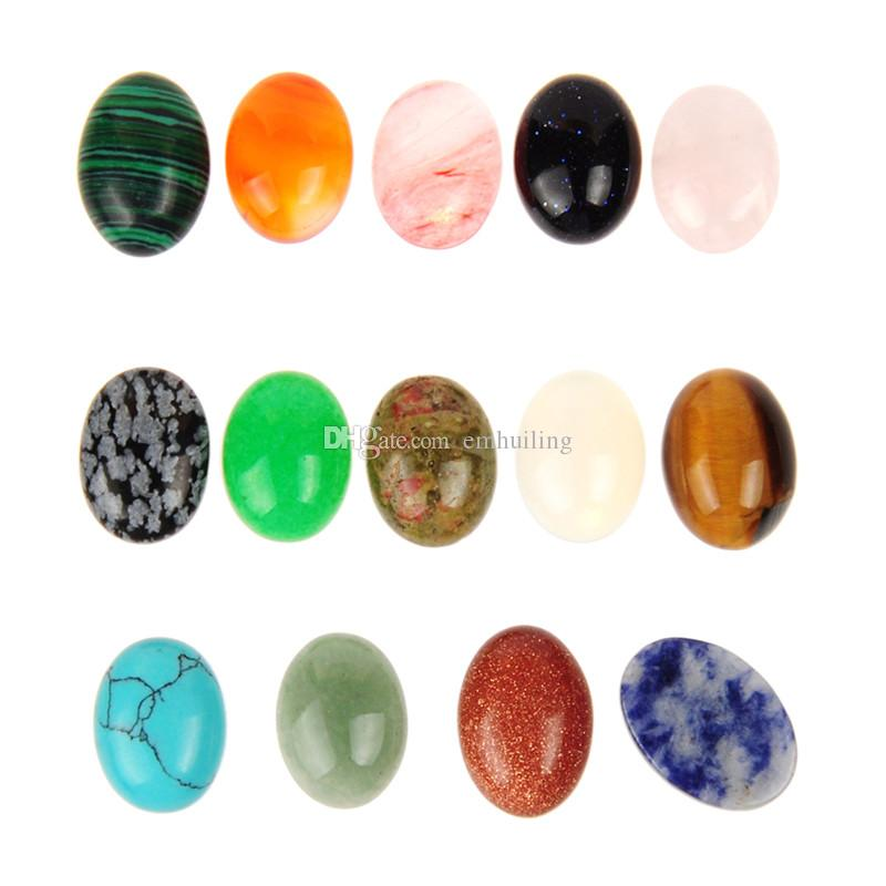 Spedizione gratuita 10 pz / lotto 12 * 16mm misto pietra naturale ovale cab cabochon flatback lacrima all'ingrosso gemma opale / quarzo rosa / occhio di tigre perline di pietra
