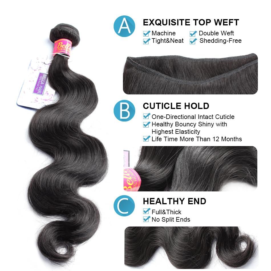 Bella cheveux Bundles Body Wave Brésilien Malaisien Péruvien Péruvien Extensions de Cheveux Indiens Non transformés Vierge Humans Hair Teans Drop Shipping