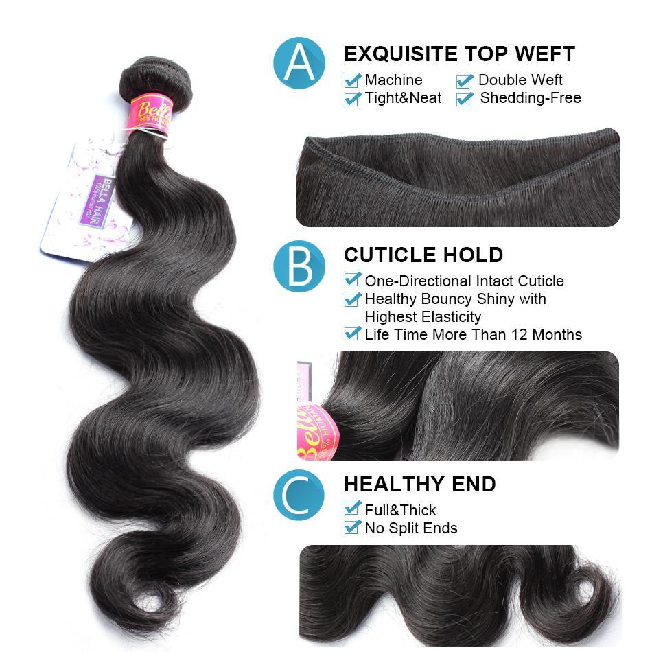 Full Head 100% obearbetade malaysiska mänskliga jungfruliga hårväv med stängningskroppsvåg 4st Hårväft + Top Lace Closure 4x4 Bella Hair