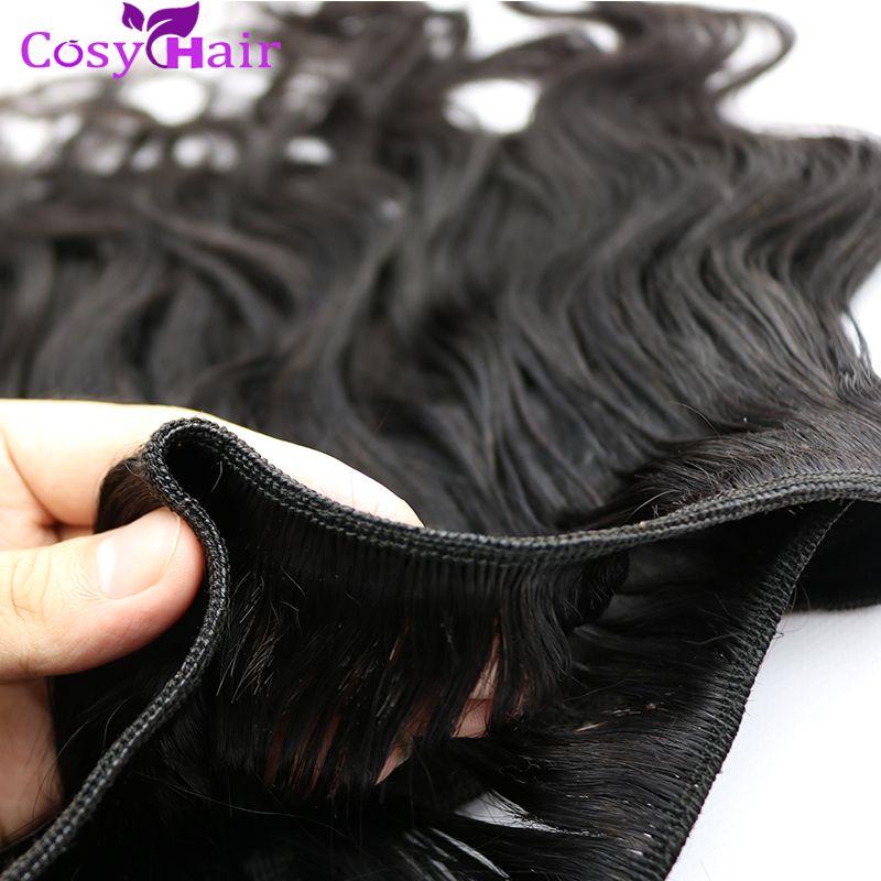 Fasci di capelli brasiliani completi della cuticola Malese tessuto dei capelli umani peruviani indiani 5 pz / lotto onda del corpo colore naturale estensioni dei capelli umani