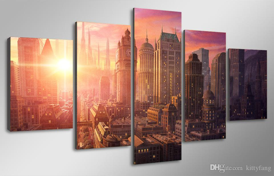 Framed HD Printed Sunset New York City Wall Art Picture Canvas Print Decor Poster Modern Canvas Oil Painting