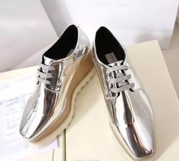 Yeni ücretsiz kargo Stella Mccartney Stell kadın Ayakkabı İtalya Elyse Altın Glitter Beyaz Sole Kama Oxford Derby Britt Platformu