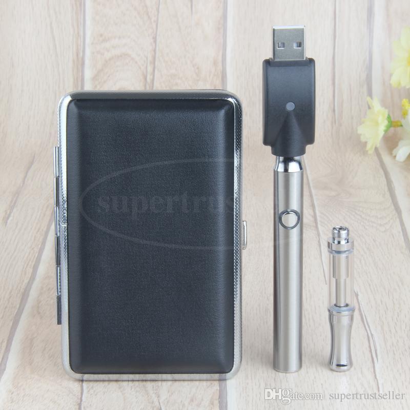 CE3 O Botão da Pena de Pré-aquecimento de Metal Caixa de Cigarro Eletrônico Kit de Vidro Ceamic Wickless Cartucho de Óleo 350 mAh Tensão Variável Vape Bateria