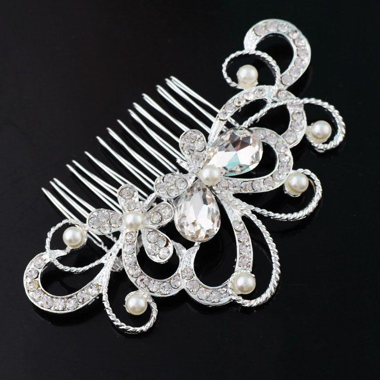 العرسان التيجان مذهلة مذهلة مشط العرسان أغطية الرأس إكسسوارات مجوهرات كريستال لؤلؤة فرشاة الشعر دبوس الشعر للفتيات