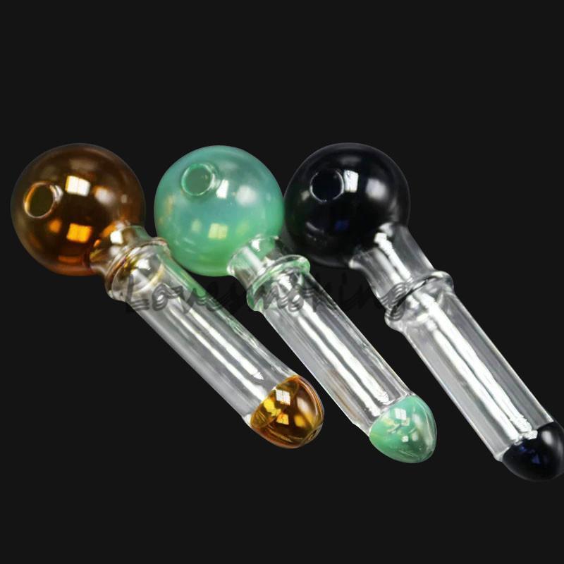 カラフルなパイレックスガラスオイルバーナーパイプクリア12mm長さガラス管の管オイルネイル湾曲したガラスボウのパイレックスオイルバーナーパイプ