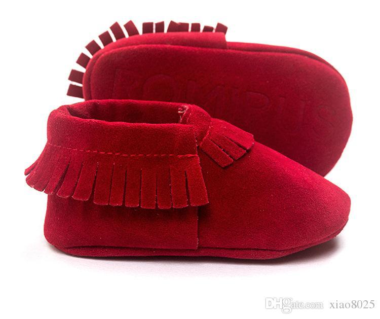 Hot PU Suede Leather Noworodka Baby Boy Girl Baby Moccasins Miękkie Moccs Shoes Bebe Fringe Miękkie Wyładowanie Obuwie Obuwie Szpiegowe Buty
