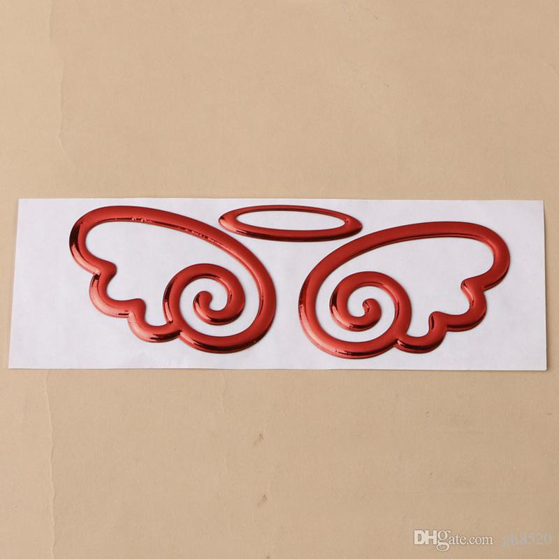 2018 wings of angels design pvc car sticker decal gold silvery red color car stickers car logo sticker wholesale for vw for toyota buick honda from gh8520