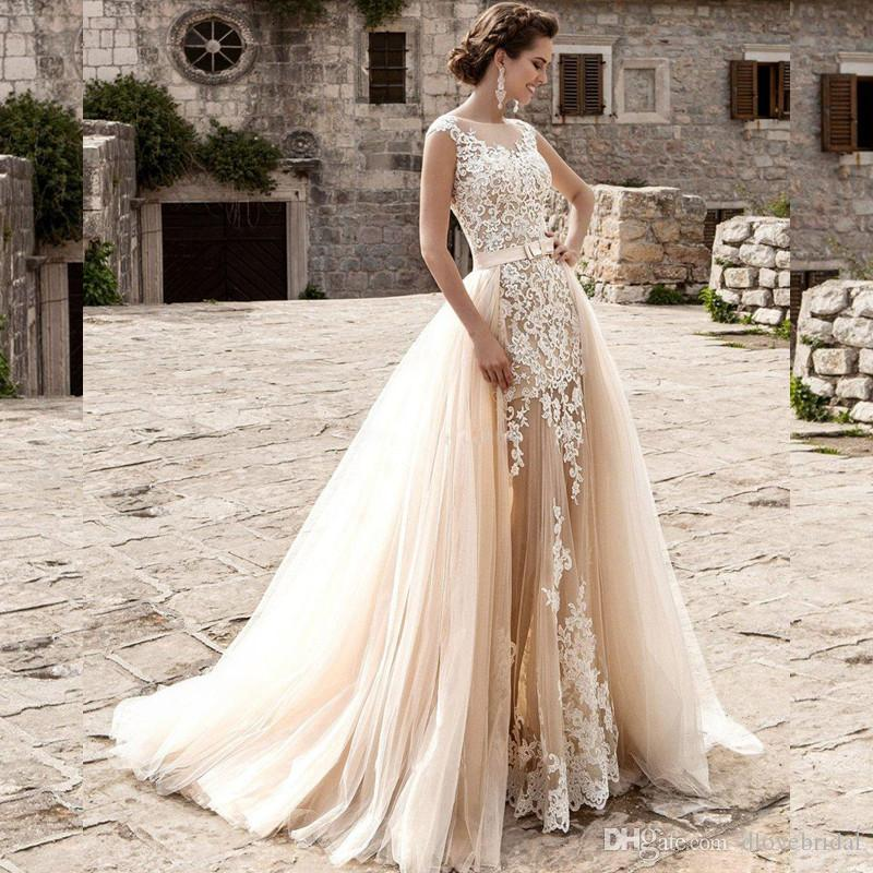 71a7c14c0d Discount Unique Two Pieces Champagne Wedding Dress Vestio De Novia  Sleeveless Lace Appliqued Illusion Bridal Dresses Gown With Detachable  Tulle Skirt ...
