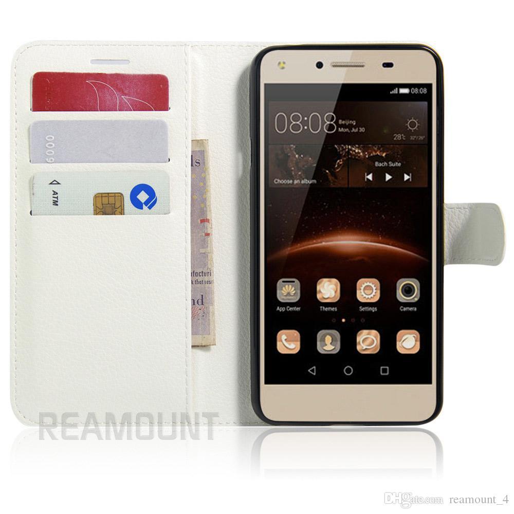 Toptan Çapa Funda Kapak için Huawei P9 Ascend P9 Standı Tasarım Kitap Stil Kart Yuvaları ile deri kılıf Huawei Y3