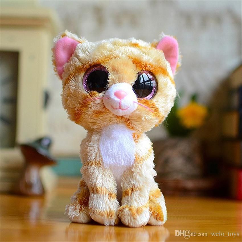 아기 소녀 생일 선물 고양이 올빼미 개구리 코끼리 HUSKEY에 대한 타이 비니 야유 봉제 장난감 인형 17cm 큰 눈 박제 된 동물 인형
