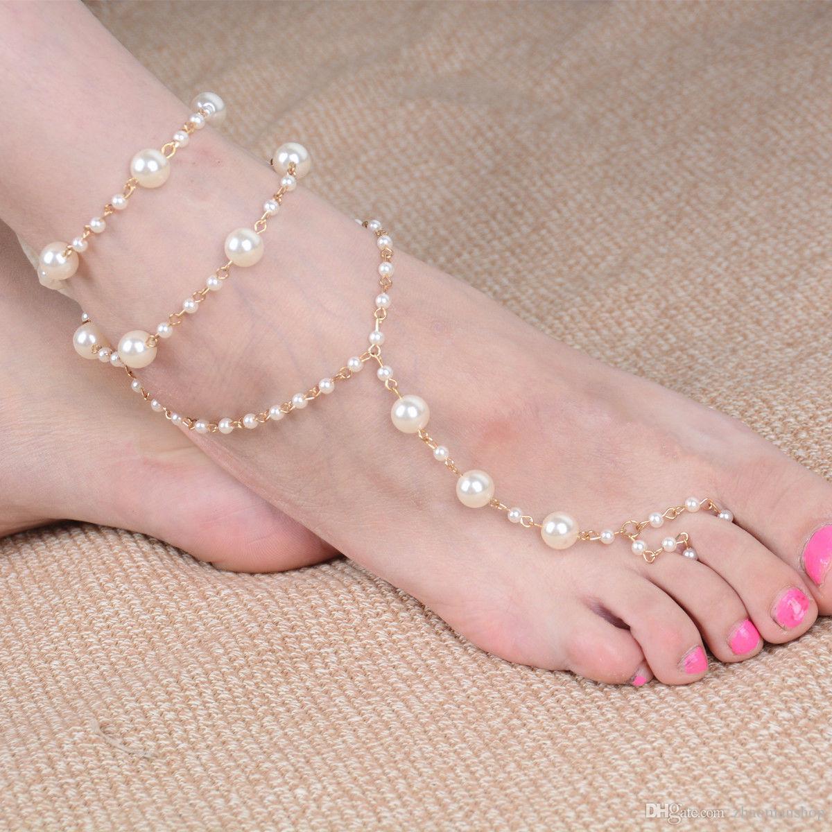 Bridal Barefoot Sandal Pearl Gold Multilayer Toe Ring Anklet Bracelet Foot
