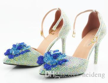LE nouveau pointu violet monster kyi AB percer les chaussures manuelles mariée chaussures de mariage blanc pantoufles à talons hauts sandales chaussures avec diamants