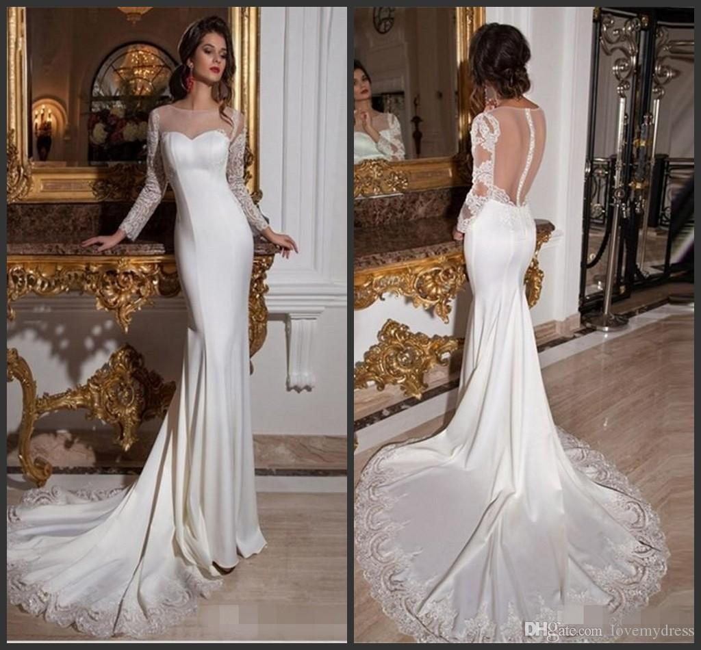 Wedding Dresses Bridal Gowns Iullsion Neck Long Sleeve Appliques ...