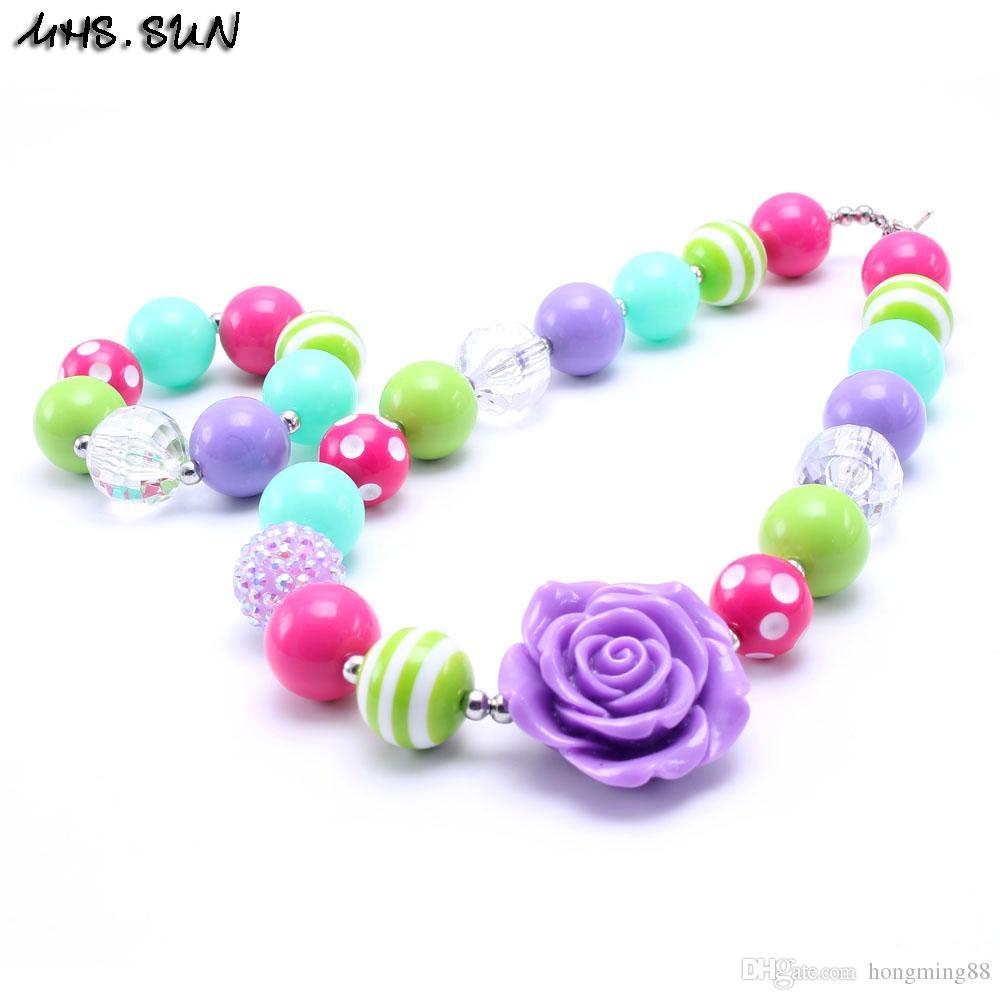 MHS.SUN Beautiful Flower Kid Chunky Necklace&Bracelet Set Best Gift For Children Girl Toddler Bubblegum Chunky Bead Necklace Jewelry Set
