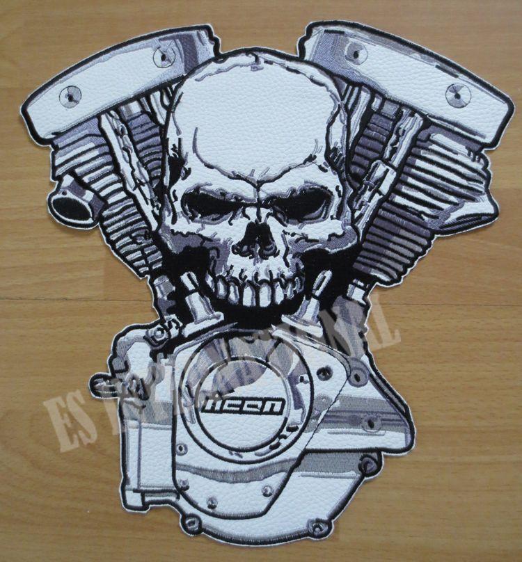 11.8 inç motor Kafatası büyük Nakış Yamalar Ceket Geri Motosiklet Biker için