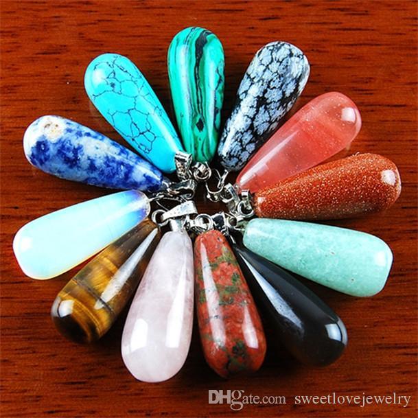 qs68 perlina pendente a goccia pietra preziosa mista Invia in modo casuale
