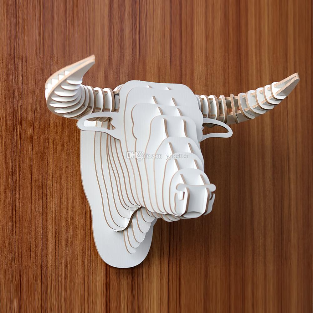 Yjbetter DIY 3D Wooden Animal bull/Cow Head Assembly Puzzle Art Model Kit  Toy Home Decoration,wooden wall hanging decorations White color
