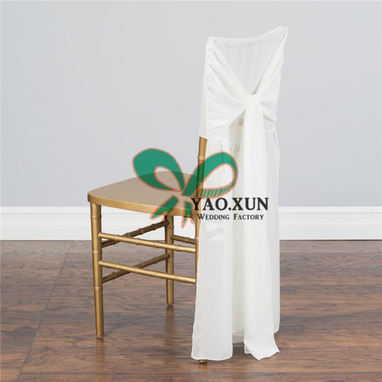 Ivory Color Chiffon Chiavari Chair Cover \ Chair Cap & Hood For Wedding Decoration