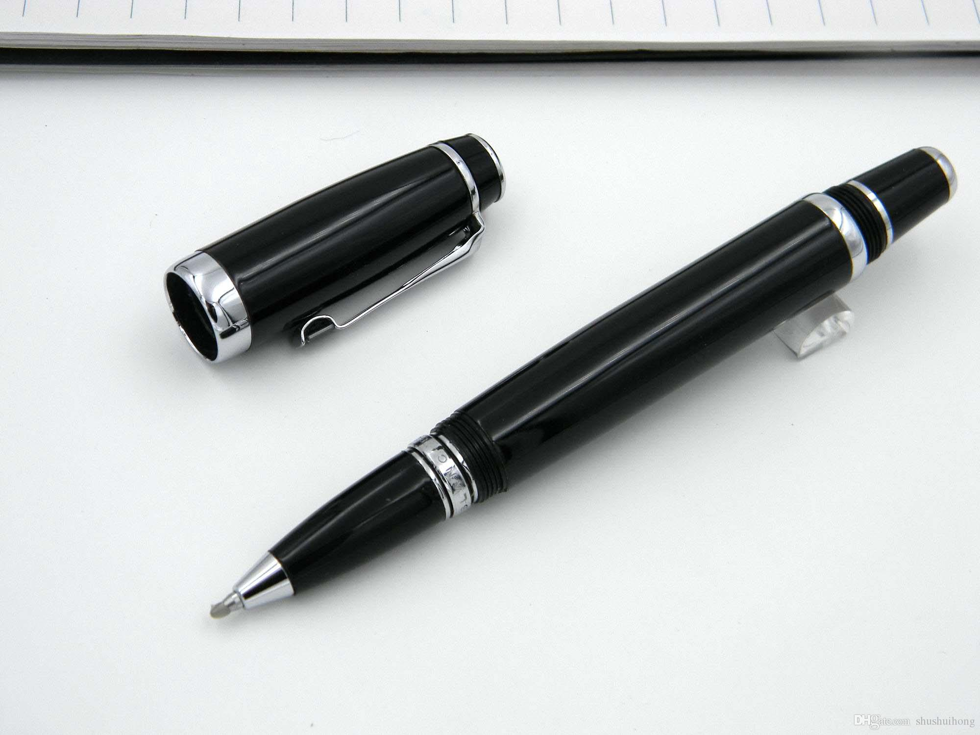 Black Short Wrist With Diamond Clip Metal RollerBall Pen+ 3Free RollerBall Refills