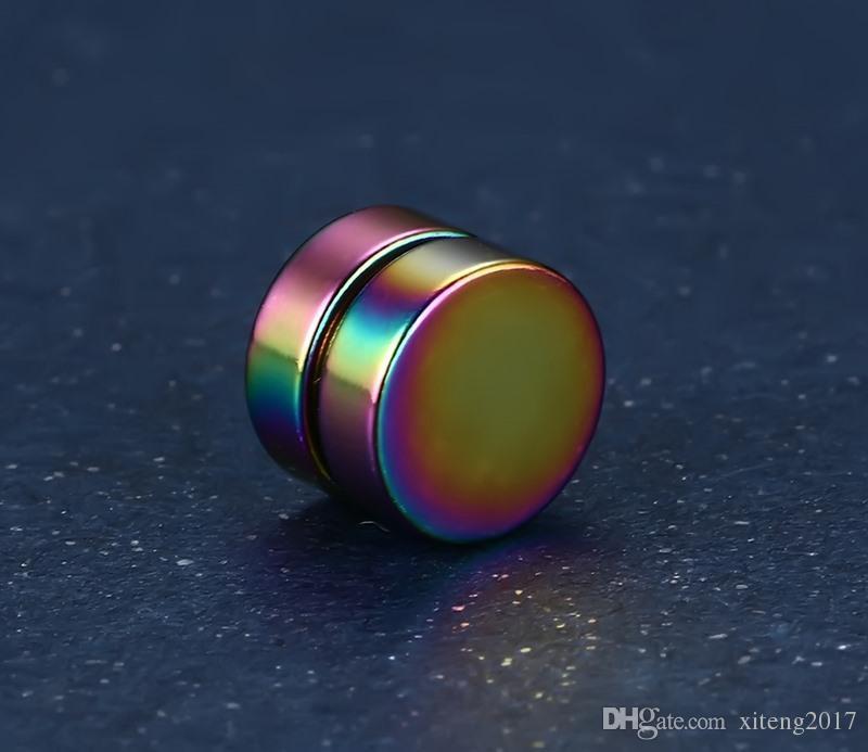 Neue Mode 8mm Runde Magnet Magnetische Ohrclip Nicht Piercing Schwarz Gold Ohrstecker für Freund Liebhaber Polieren Edelstahl Schmuck