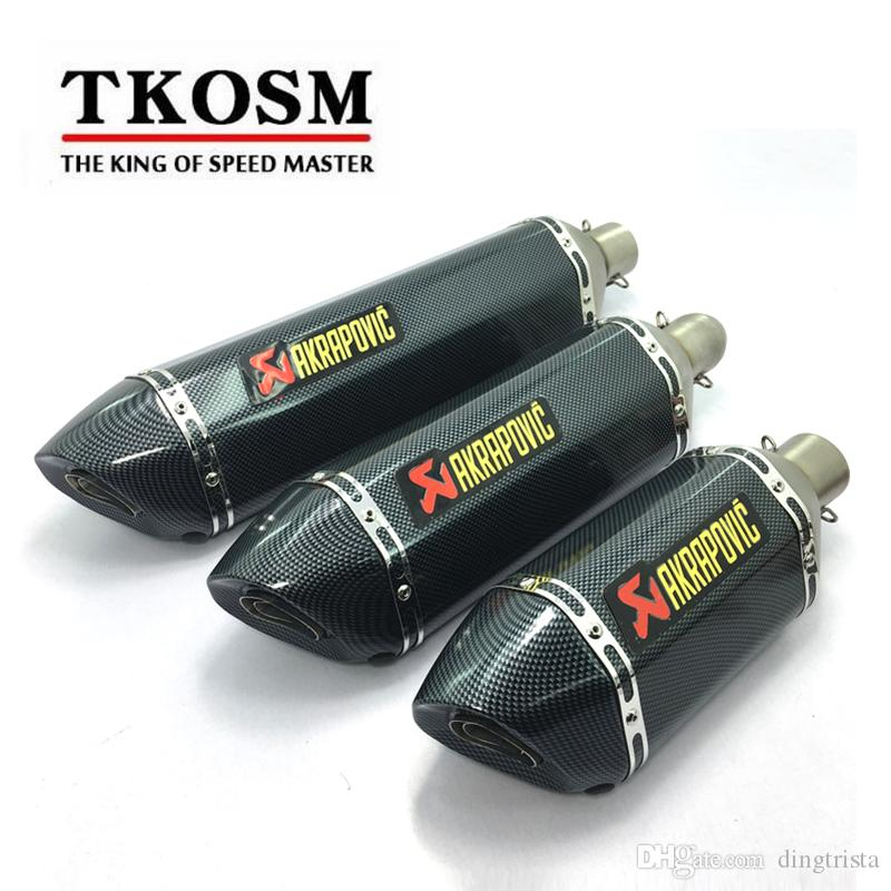 TKOSM Motorcycle Exhaust Universal 51mm 3 Size Length 570mm 470mm 380mm Stainless Steel Carbon Fiber Akrapovic Face Motorbike Exhaust Pipe
