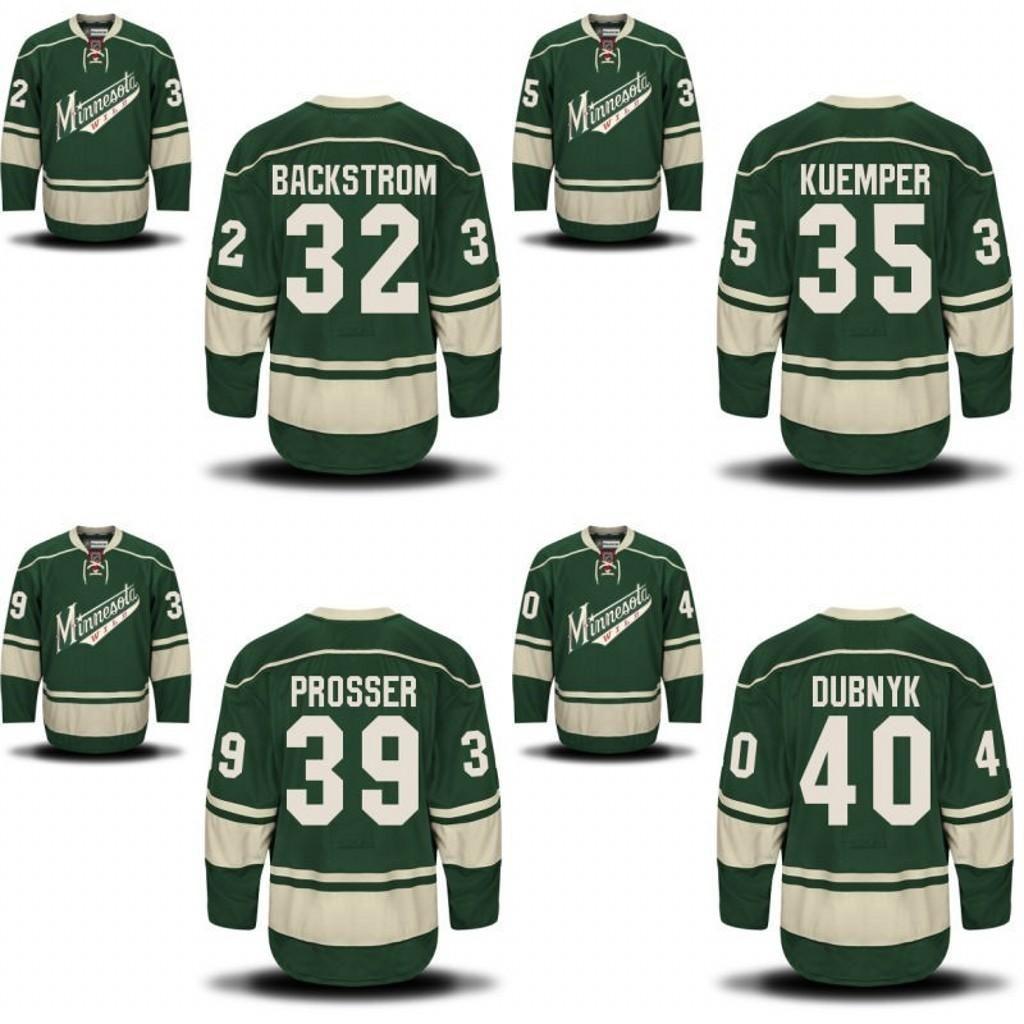 16b8b7c1481 ... Minnesota Wild Jersey 32 Niklas Backstrom 35 Darcy Kuemper 39 Nate  Prosser 40 Minnesota Wild 25 Jonas Brodin Third Jersey - Green Minnesota  Wild Hockey ...