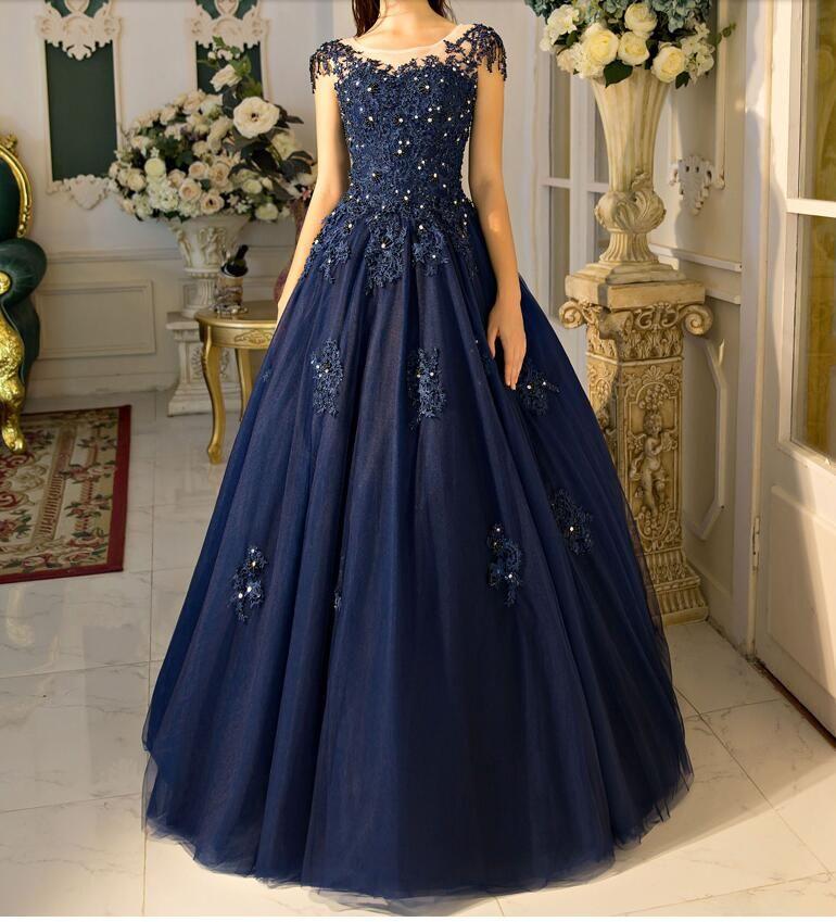 Großhandel Marineblau Ballkleid Prom Kleider 2017 Echt Fotos Cap ...