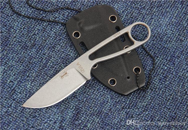 ESEE IZULA 12992 D2 Boyun Bıçak Stonwashed Taktik Kamp Avcılık Survival Cep Anahtarlık Bıçak Açık EDC Araçları K Kılıf Koleksiyonu