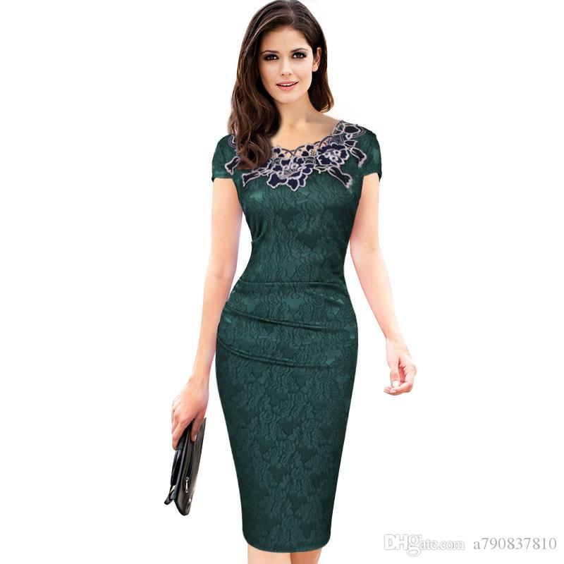 2017 NEW High Quality Womens Sexy Elegant Summer Floral Flower Lace Cap Sleeve Slim Casual Party Fitted Sheath Bodycon Dress NYC290 retail